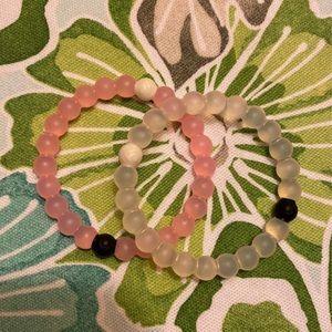 Pink and Clear Lokai Bracelets